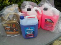 Antifreeze, Fully Synthetic oil, Screen Wash