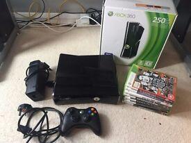Xbox 360 250GB Gloss with 6 Games + Original Box