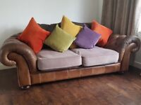 Sofa brown leather large 2 seater 1.5 seater and a pouffe
