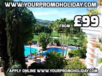 Promotional holiday in Costa del Sol, Spain. 7 nights 4 star accommodation from £99 Marbella & Mijas
