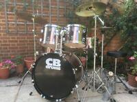 Beginner / Student Drum Kit - Sabian Cymbals & Stool - Good To Go - Fabulous !!