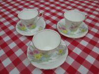 Vintage Afternoon Cream Tea Sets, Bone China, Cups, Saucers, Mis-match, Mismatch