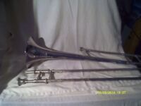 NICE OLD TROMBONE in SILVER PLATE with MOUTHPIECE and CASE , SLIDES are GOOD .