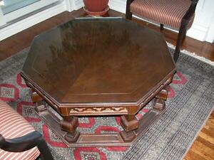 coffee table Octagon dark walnut + matching end table