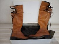 Pre-owned women's brown leather Cristina Lucchi boot - excellent condition - with box - size 37/4