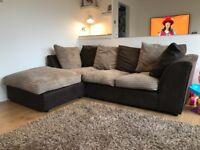 Corner Sofa - Brown faux leather & beige chord
