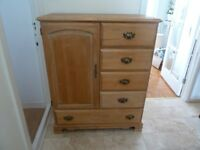 Pine Chest of Drawers / Tall boy Made of Solid Five Pine Drawers and Cupboard