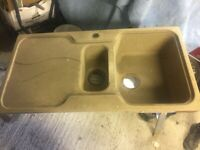 Beige Colour Kitchen Sink new but weathered as has been sitting