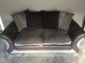 Black and Charcoal 2 Seater Sofa
