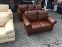 LITTLEWOODS REAL LEATHER BROWN 3 AND 2 SEATER SOFA CASSINA OXBLOOD SCROLL ARM
