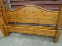 Pine bed frame, King size with drawers
