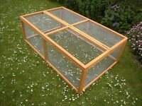 "RABBIT/GUINEA-PIG RUNS WITH LIFT UP LIDS.THEY MEASURE 5FT. X 3FT. X 20""HIGH.£30 EACH."
