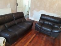 Brown leather sofa, large 2 seater and a chair