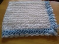 Beautiful new handcrafted christening shawl/blanket