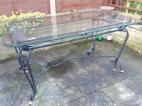 elegant 6 Seater Rectangular Glass and Metal Garden Dining garden Table - Only £75