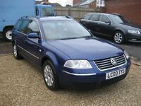 VW Passat 1.9 TDI PD SE Estate. 2003 automatic in blue. 105,000 miles with only 1 former owner.