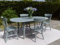 Beautiful, Large Dining Table and 4 Chairs in Duck Egg Blue, Shabby Chic.