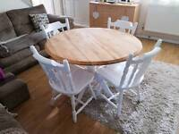 Pine Shabby Chic dining table and chairs