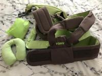 Tomy baby sling with head support and rain cover