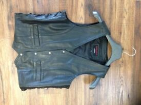 Leather motorcycle waist coat