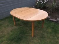 Solid Pine Dining Table - Reasonable condition, can be circular or oval for increased size.