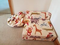 Childrens single sofa bed, toy box and bean bag - jungle themed