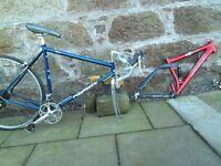 Ridegback classic road bike and saracen mountain bike frame.
