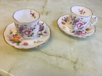 """Royal Crown Derby Bone China Coffee cups and saucer - """"Derby Posies"""""""
