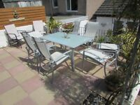 Garden Furniture Dining Table, 6 chairs, 2 foot stools and Parasol