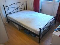 Double Bed - Black Frame Laura Design and Silent Night Mattress - Great Condition