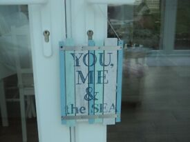SEASIDE BEACH THEME HANGING PLAQUES - POSTED PICTURES, CANVAS & ORNAMENTS.