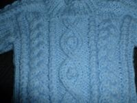 Hand knitted baby aran jumper, brand new
