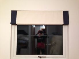 Roman Blinds, Navy and winter white - New