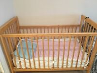 John Lewis Cot Bed + Mattress (with protector and baby pillow)