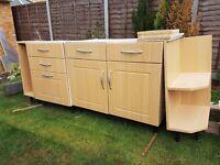 Kitchen cupboards and worktops