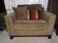2x wide armchairs in mocha brown