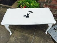 Beautiful vintage shabby chic coffee table Mary Poppins style.