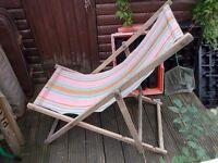 Vintage retro beach or garden deck chair