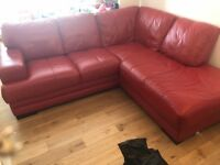 DFS Red Leather corner Sofa
