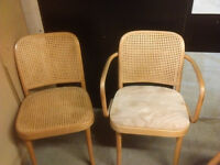 2 x wicker and wooden dining chairs