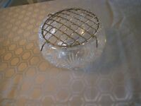 BEAUTIFUL VINTAGE EDINBURGH CRYSTAL MEDIUM SIZED ROSE BOWL, plus its GRID COVER.