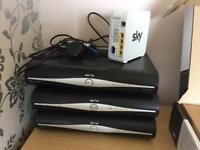 3 Sky HD boxes and router
