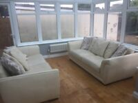 Leather sofas with scatter back cushions