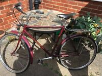 Vintage Raleigh men's bike, maroon, original Raleigh bell and pouch and Brooks saddle