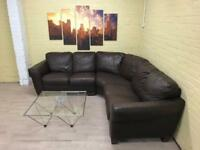 Lovely Large Brown Leather Corner Sofa
