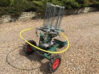 BOWMAN SUPERMATCH SIX CLAY TRAP MACHINE WITH DTL BASE AND TRAILER. EXTRAS INCLUDED