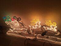 Santa In sleigh and reindeer motion Christmas rope lights