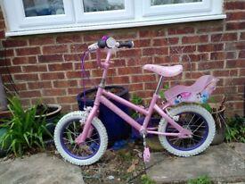 "Disney Girls Bicycle Pink 14"" wheel with doll seat"