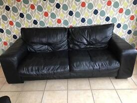 Leather Settee, Arm Chair, Spinning Chair & Foot Stool