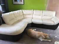 4 seater DSF leather corner sofa and footstool
